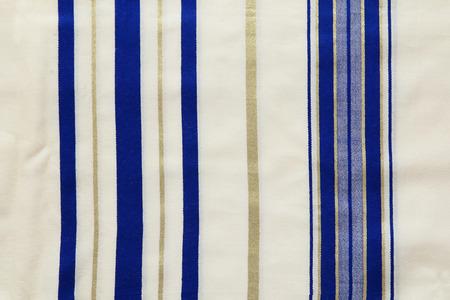 yom kipur: White Prayer Shawl - Tallit, jewish religious symbol. Stock Photo