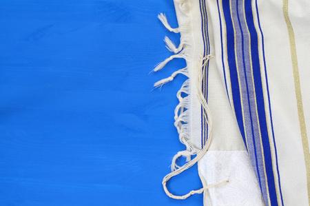 sephardic: White Prayer Shawl - Tallit, jewish religious symbol