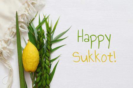 Joods herfstfestival van Soekot. Traditionele symbolen (de vier soorten): Etrog, lulav, hadas, arava. Stockfoto