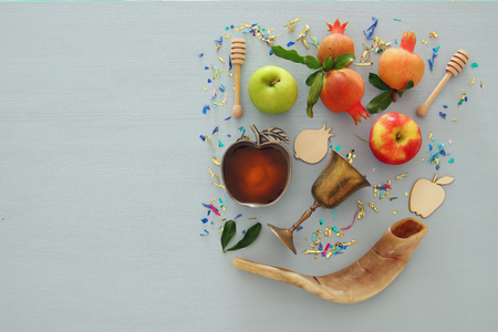 Rosh hashanah (jewish New Year holiday) concept. Traditional symbols