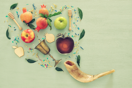 Rosh hashanah (jewish New Year holiday) concept. Traditional symbols Stock Photo - 83132705