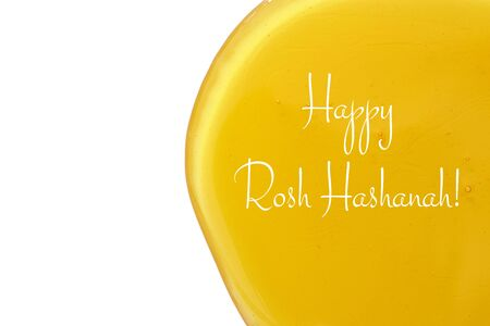 jewish: honey isolated on a white background. Rosh hashanah (jewish New Year holiday) concept. Traditional symbol