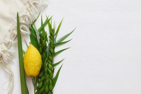 Joods herfstfestival van Soekot. Traditionele symbolen (de vier soorten): Etrog, lulav, hadas, arava. Stockfoto - 83826207