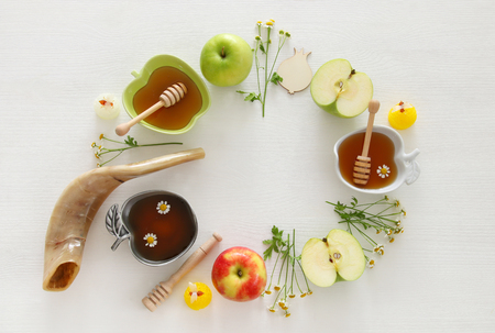 jewish: Rosh hashanah (jewish New Year holiday) concept. Traditional symbols