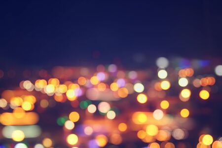 street lamp: image of colorful blurred defocused bokeh Lights. motion and nightlife concept. Stock Photo