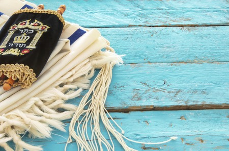 jewish: Prayer Shawl - Tallit, jewish religious symbol. Stock Photo