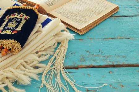 Prayer Shawl - Tallit, jewish religious symbol. Stock Photo