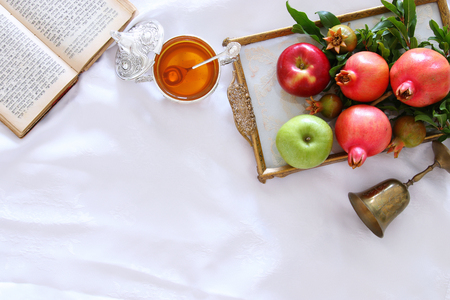 jewish: Rosh hashanah (jewish New Year holiday) concept. Traditional symbols.