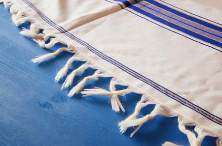 yom kipur: White Prayer Shawl - Tallit, jewish religious symbol