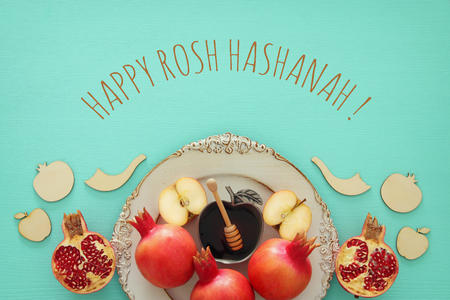 Rosh hashanah (유태인 신년 휴일) 개념. 전통적인 기호 스톡 콘텐츠