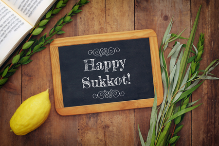 Jewish festival of Sukkot. Traditional symbols (The four species): Etrog, lulav, hadas, arava. Stock Photo - 85555411
