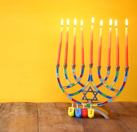 Image of jewish holiday Hanukkah with menorah (traditional Candelabra)