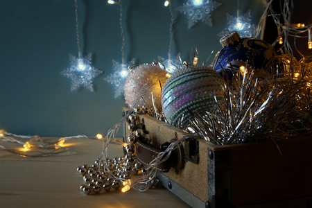 low key Image of christmas festive decorations on wooden table Stock Photo