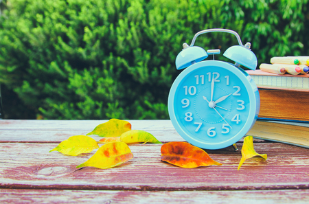 Image of autumn Time Change. Fall back concept. Dry leaves and vintage alarm Clock on wooden table outdoors at afternoon Reklamní fotografie