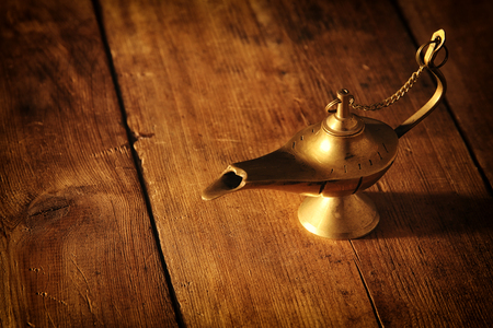 Image of magical aladdin lamp. Lamp of wishes Stock Photo