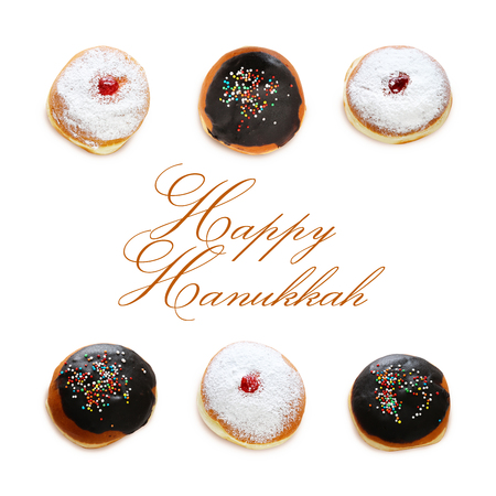 jewish holiday Hanukkah image with traditional doughnuts isolated on white Stock Photo