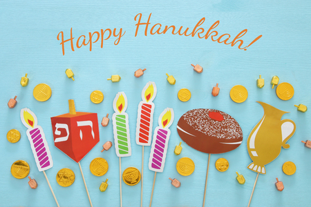 Top view of jewish holiday Hanukkah background Stock Photo