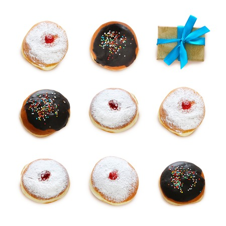 jewish holiday Hanukkah image with traditional doughnuts isolated on white 스톡 콘텐츠