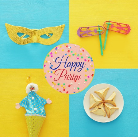 Collage of Purim celebration concept (jewish carnival holiday). Top view