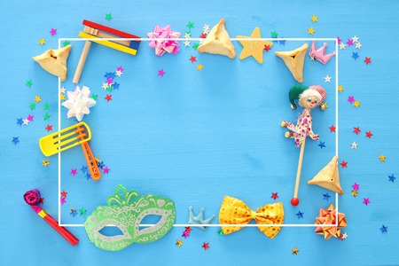 Purim celebration concept (jewish carnival holiday). Top view Foto de archivo