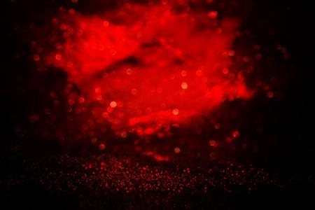 black and red glitter lights background. defocused Banco de Imagens