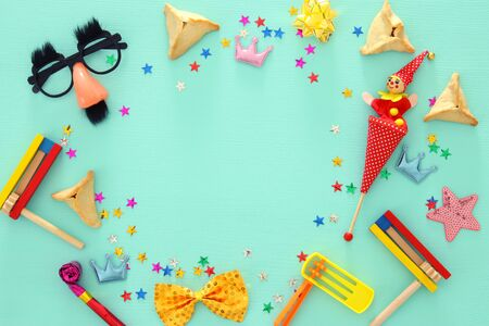 Purim celebration concept (jewish carnival holiday). Top view Stock Photo
