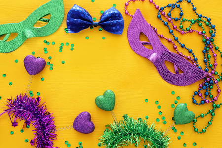 Top view image of masquerade background. Flat lay. Mardi Gras celebration concept