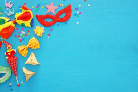 Purim celebration concept (jewish carnival holiday). Top view Standard-Bild