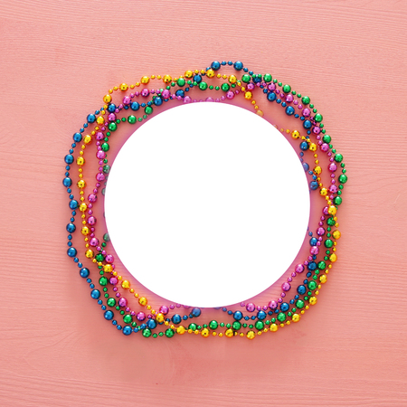 Top view image of colorful beads. Flat lay. Copy space