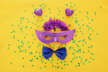 Top view image of masquerade venetian mask background. Flat lay. Purim celebration concept (jewish carnival holiday) Stock Photo