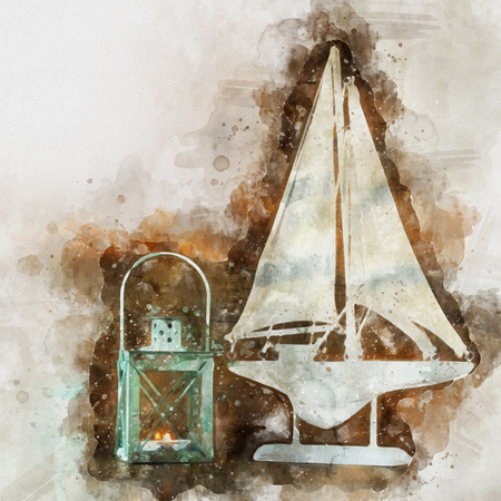 watercolor style and abstract image of nautical concept with old boat Stock Photo