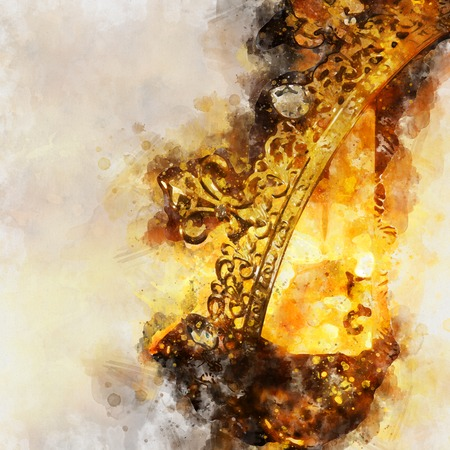 watercolor style and abstract image of beautiful queenking crown. fantasy medieval period Stock Photo