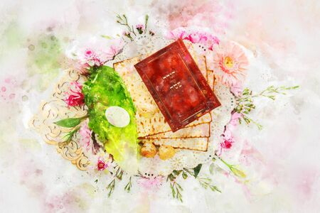 watercolor style and abstract image of Pesah celebration concept (jewish Passover holiday). Traditional book with text in hebrew: Passover Haggadah (Passover Tale) Stock Photo