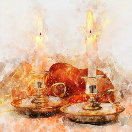 watercolor style and abstract image of shabbat. challah bread and candles on the table Stock Photo