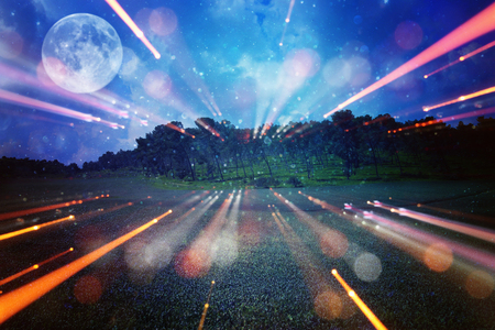 Surreal fantasy concept - full moon with stars glitter in night skies background