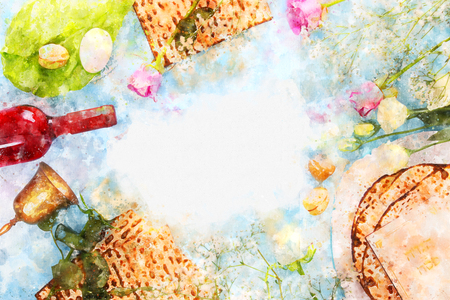 watercolor style and abstract image of Pesah celebration concept (jewish Passover holiday)