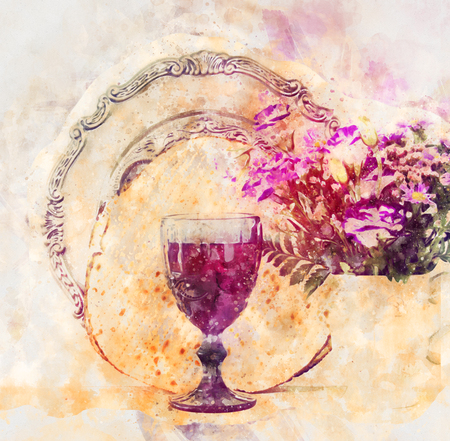 watercolor style and abstract image of Pesah celebration concept (jewish Passover holiday) Stock Photo - 96785925