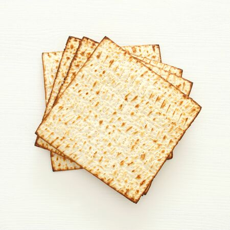 passover background with matzoh isolated on white
