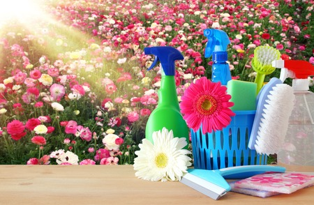 Spring cleaning concept with supplies on wooden table Stockfoto