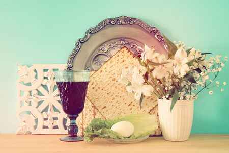 Pesah celebration concept (jewish Passover holiday). Translation for Hebrew Text: egg Stock Photo