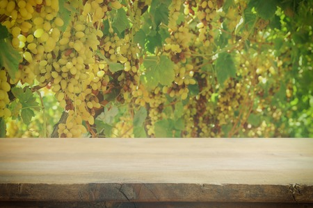 Image of wooden table in front of blurred vineyard landscape. Ready for product display montage