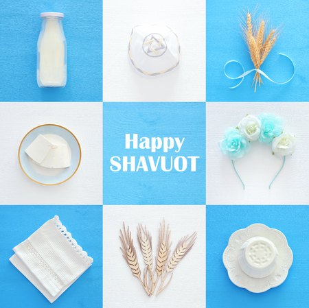 Top view collage image of dairy products. Symbols of jewish holiday - Shavuot