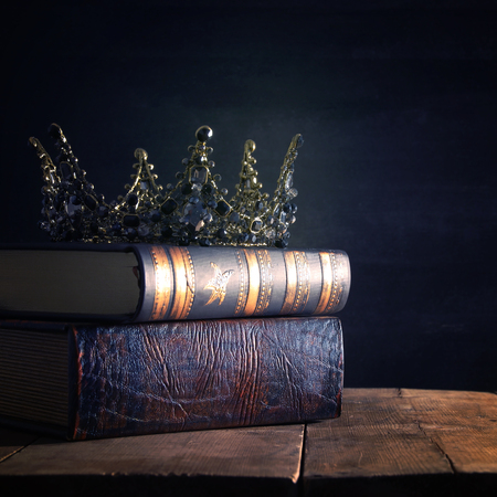 low key image of beautiful queenking crown. fantasy medieval period. Selective focus Stock fotó