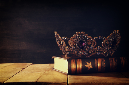 low key image of beautiful queenking crown. fantasy medieval period. Selective focus Stock Photo