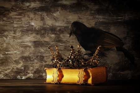 low key image of beautiful queenking crown and black crow. fantasy medieval period. Selective focus