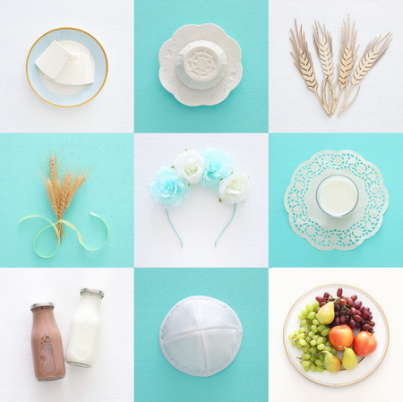 Top view collage image of dairy products and fruits. Symbols of jewish holiday - Shavuot 스톡 콘텐츠