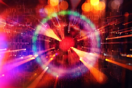 Abstract science fiction futuristic background . lens flare. concept image of space or time travel over bright lights