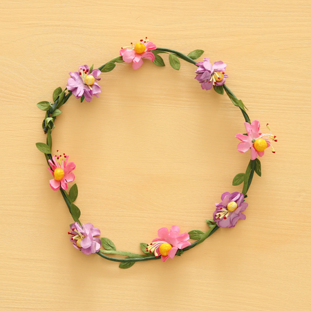 Top vie image of floral decorative head decoration. Symbols of jewish holiday - Shavuot and girls party accessory