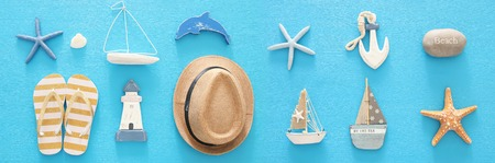 nautical, vacation and travel banner with sea life style objects. Top view