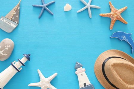 nautical, vacation and travel image with sea life style objects. Top view